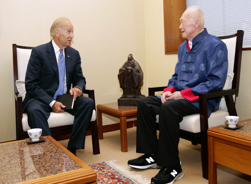 Joe Biden and Lee Kuan Yew